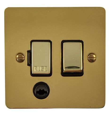 G&H FB356 Flat Plate Polished Brass 1 Gang Fused Spur 13A Switched & Flex Outlet